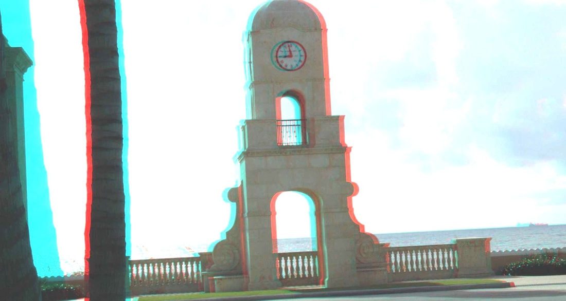 3D Anaglyph Worth Avenue Clock Tower Palm Beach